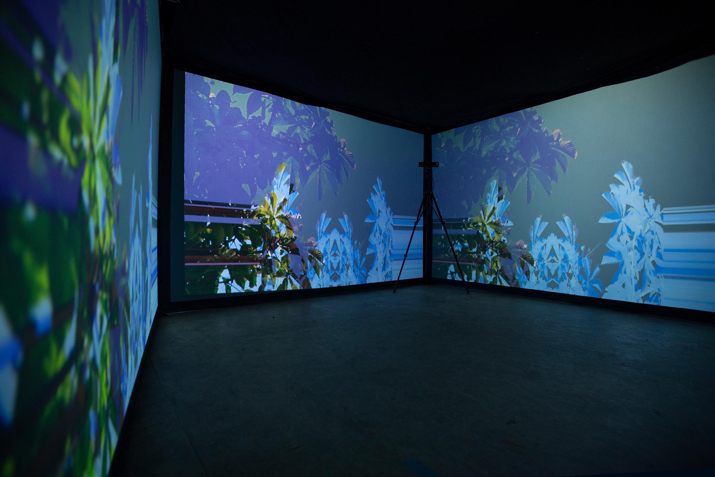 przestrzeń interaktywnej instalacji wideo czterokanałowego